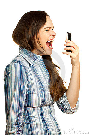 Frustrated business woman yelling at her phone