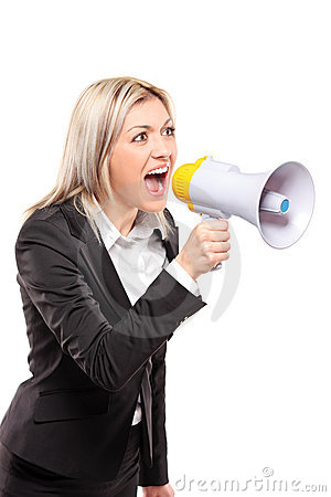 Frustrated businesswoman yelling