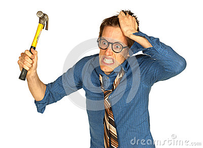 Frustrated Man with Hammer