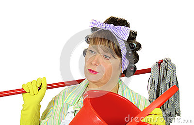 Frustrated Mopping Housewife