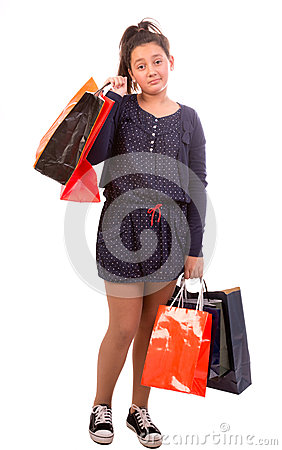 Frustrated shopping girl