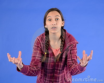Frustrated Teen Girl With Braids With Hands Out Stock