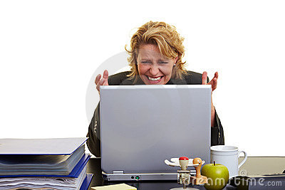 Frustrated Woman At Laptop Stock Images - Image: 12505384