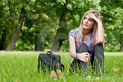 Frustration - young woman outdoors
