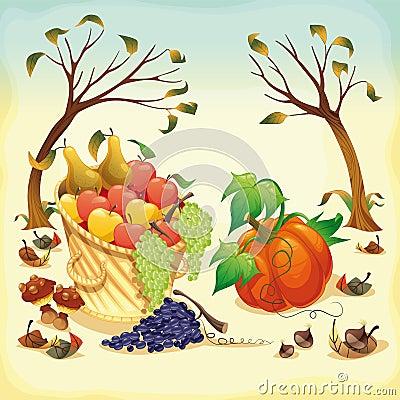 Fruta e verdura no outono.
