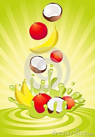 Fruta sabrosa en yogur