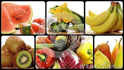 Frutas e legumes em uma colagem branca do fundo