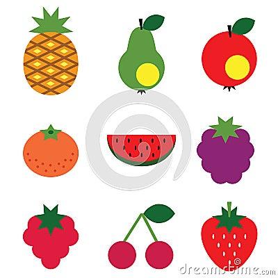Frutas simples fijadas