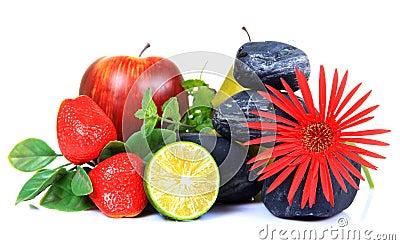 Frutas y decoración de la flor