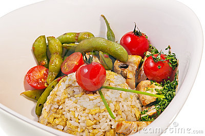 Fry rice and fish with vegetable