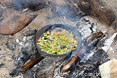 Frying pan on fire