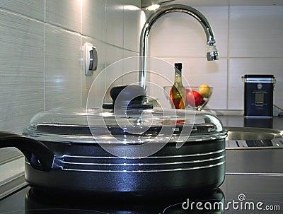 Frying pan in modern kitchen
