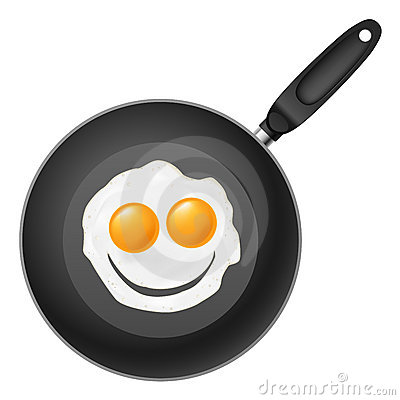 Frying pan with smile egg