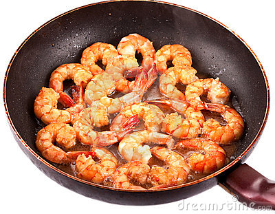 Frying Pan with Tiger Prawns