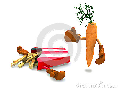 Frytki i marchewka które walczą