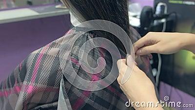 Fryzjer robi kucyk z włosów klienta przed jego cięciem, zamknięciem zdjęcie wideo