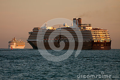 Two Cruise Ships Head Out To Sea Editorial Stock Photo