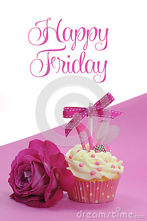 Free Fuchsia Pink Theme Cupcake With Shoe And Heart Decoration And Beautiful Rose, With Happy Friday Stock Photo - 40684570