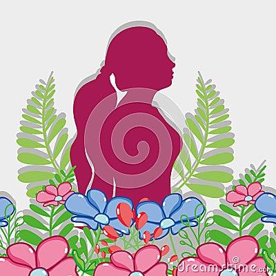 Free Fucsia Silhouette Woman With Flowers Design Stock Photos - 110346003