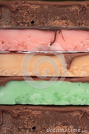 Fudge bars in different colors