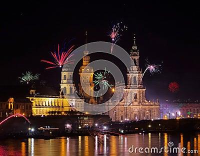 Fuegos artificiales de Dresden