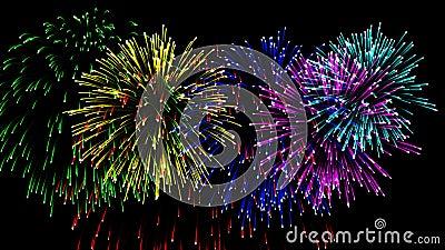 Fuegos artificiales hermosos del CG en el día de la celebración, alfa metrajes