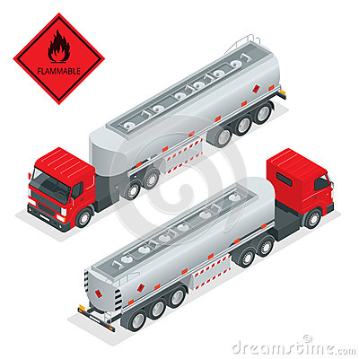 Free Fuel Gas Tanker Truck Isometric Illustration. Truck With Fuel 3d Vector. Automotive Fuel Tanker Shipping Fuel. Oil Truck Royalty Free Stock Photo - 67612955
