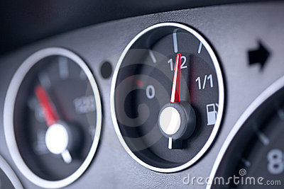 Fuel Gauge in a Car Dashboard
