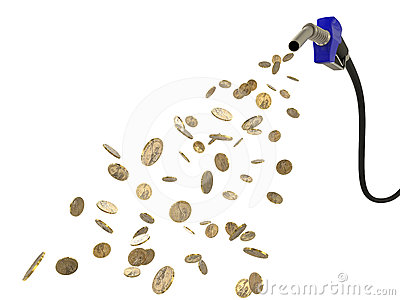 Fuel nozzle pouring Dollar coins