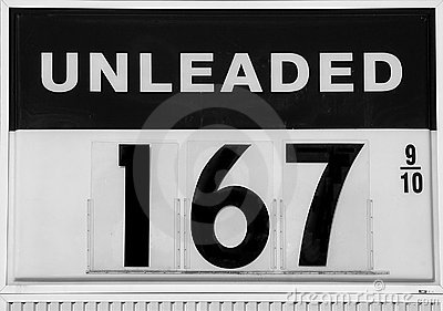 Fuel sign showing gas prices going down