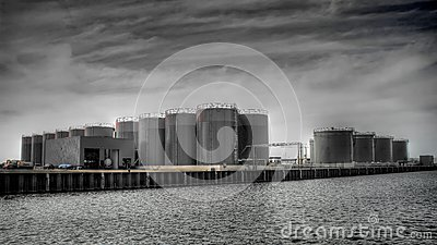 Fuel silos on docks