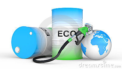 Fueling earth from pump nozzle on white background