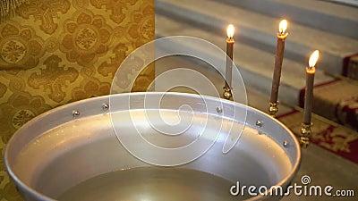 Fuente de la ceremonia del bautizo almacen de metraje de vídeo