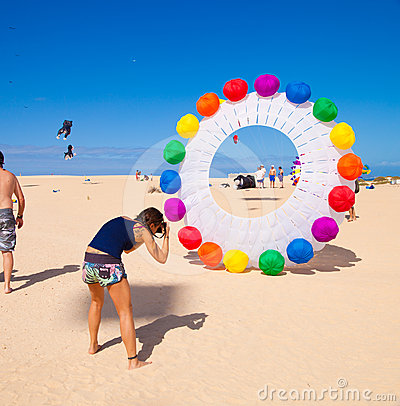 FUERTEVENTURA - NOVEMBER 13, 2011: KITE FESTIVAL Editorial Photography