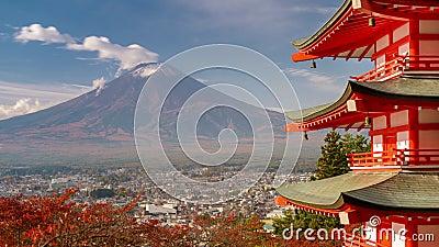 Fuji in Autumn. Mt. Fuji, Japan from Chureito Pagoda in autumn