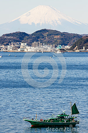 Fuji with Japan fishinh boat on the firstplan.