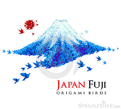 Fuji mountain shaped from origami birds