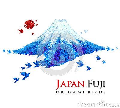 Fuji mountain shaped from origami birds