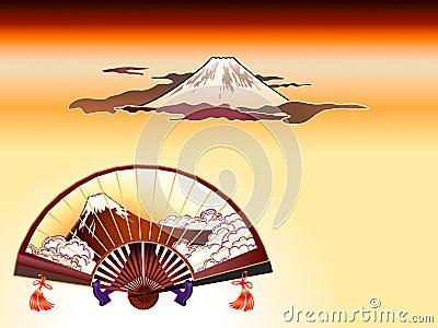 Fuji-san folding fan