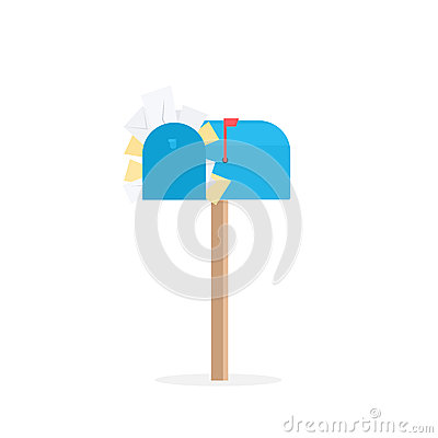 Full blue mailbox Vector Illustration