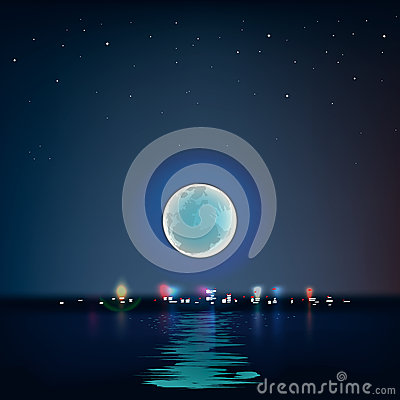 Full blue moon over cold night water