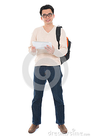 Full body Asian adult student using tablet pc