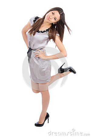 Full body beautiful brunette woman smiling