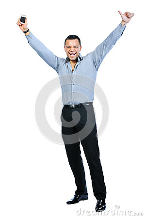 Full body of happy gesturing young smiling business man