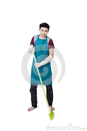 Full body of man with broom