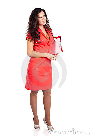 Full body nurse or woman doctor with clipboard