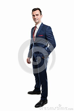 Free Full Body Of Attractive Business Man Posing Wearing Suit Stock Photos - 113363173