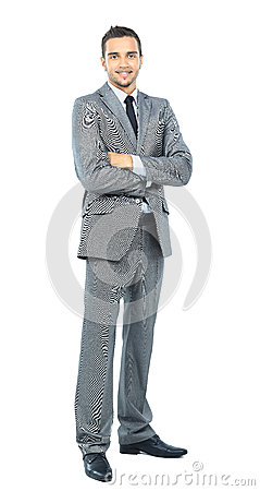Full body portrait of happy smiling business