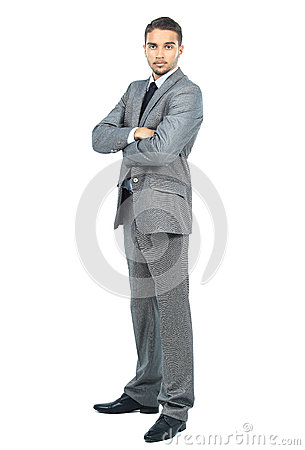 Full body portrait of happy smiling business man