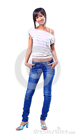 Full body portrait of happy smiling woman